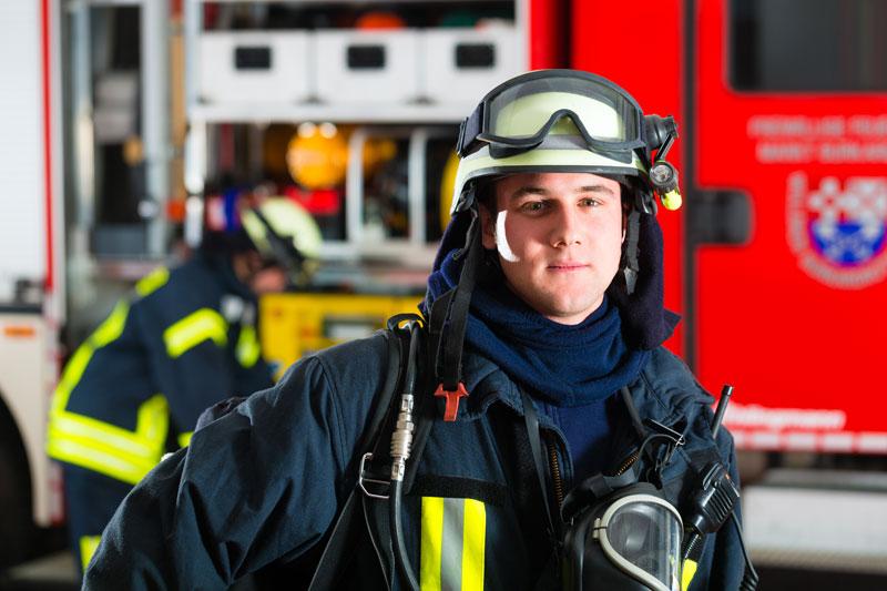 young fireman truck