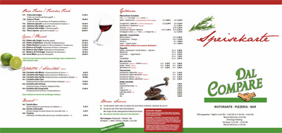 Speisekarte Dal Compare Pizzeria Ochtrup