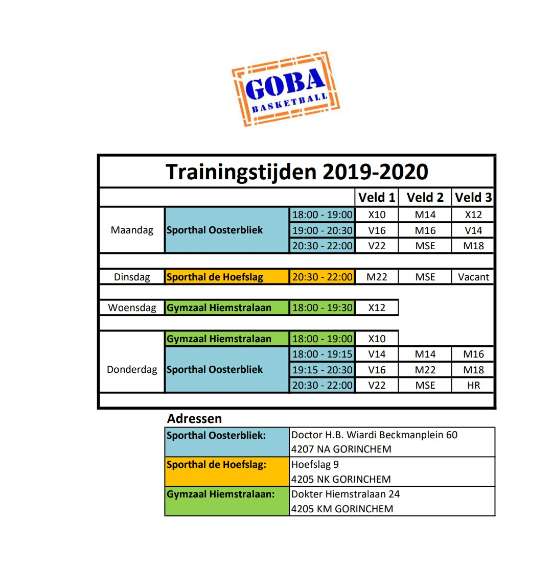 Trainingstijden Goba 2019-2020